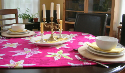 E.'s red and yellow table setting, borrowing some of her business fabric